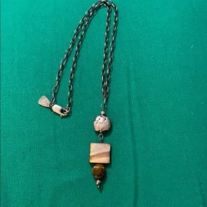 Silpada tigers eye and mother of pearl necklace